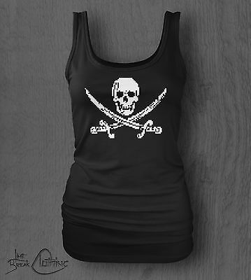 8-bit Piracy Pixel Skull and Crossbones Vest Tank Bodybuilding GYM Retro Top