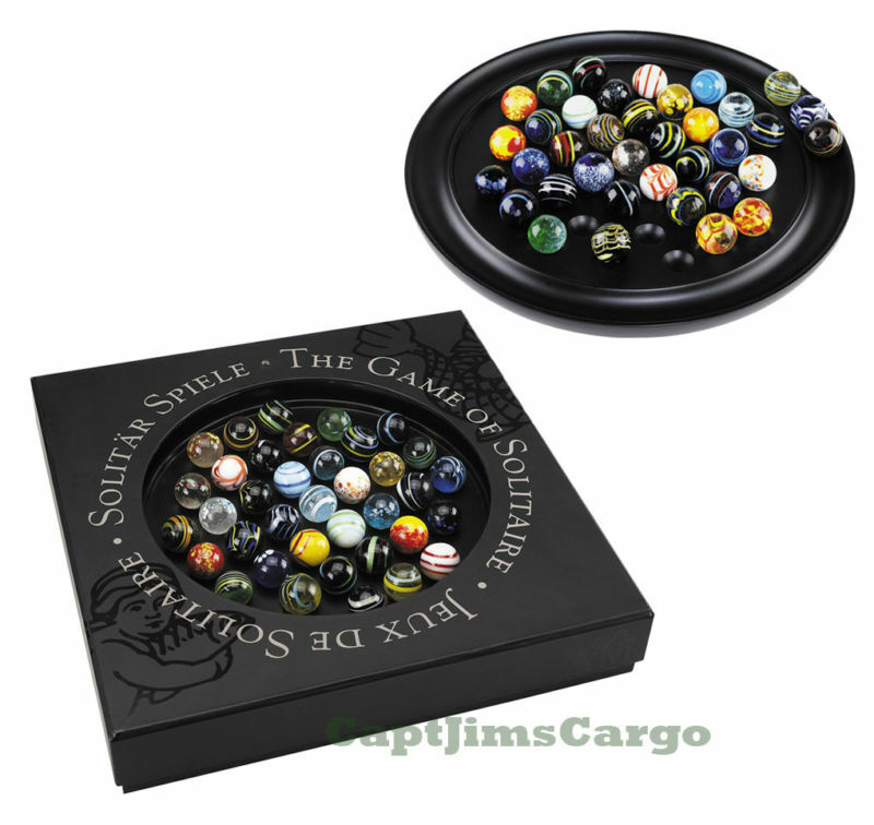 Solitaire Di Venezia Wooden Game Game Game 25mm (0.98 ) Hand Blown Glass Marbles 9791fb
