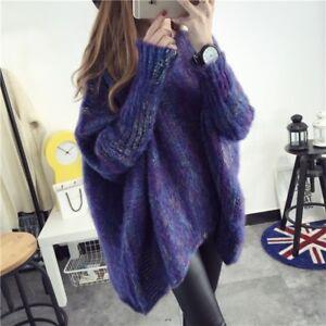 Women-Casual-Faux-Mohair-Cloak-Sweater-Asymmetry-Batwing-Sleeve-Jumper-Pullover