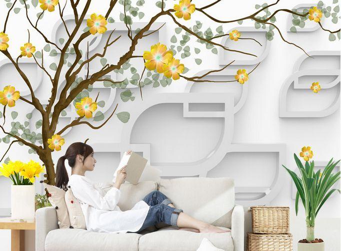 3D I Fiori, gli Alberi Parete Murale Carta da parati immagine sfondo muro stampa