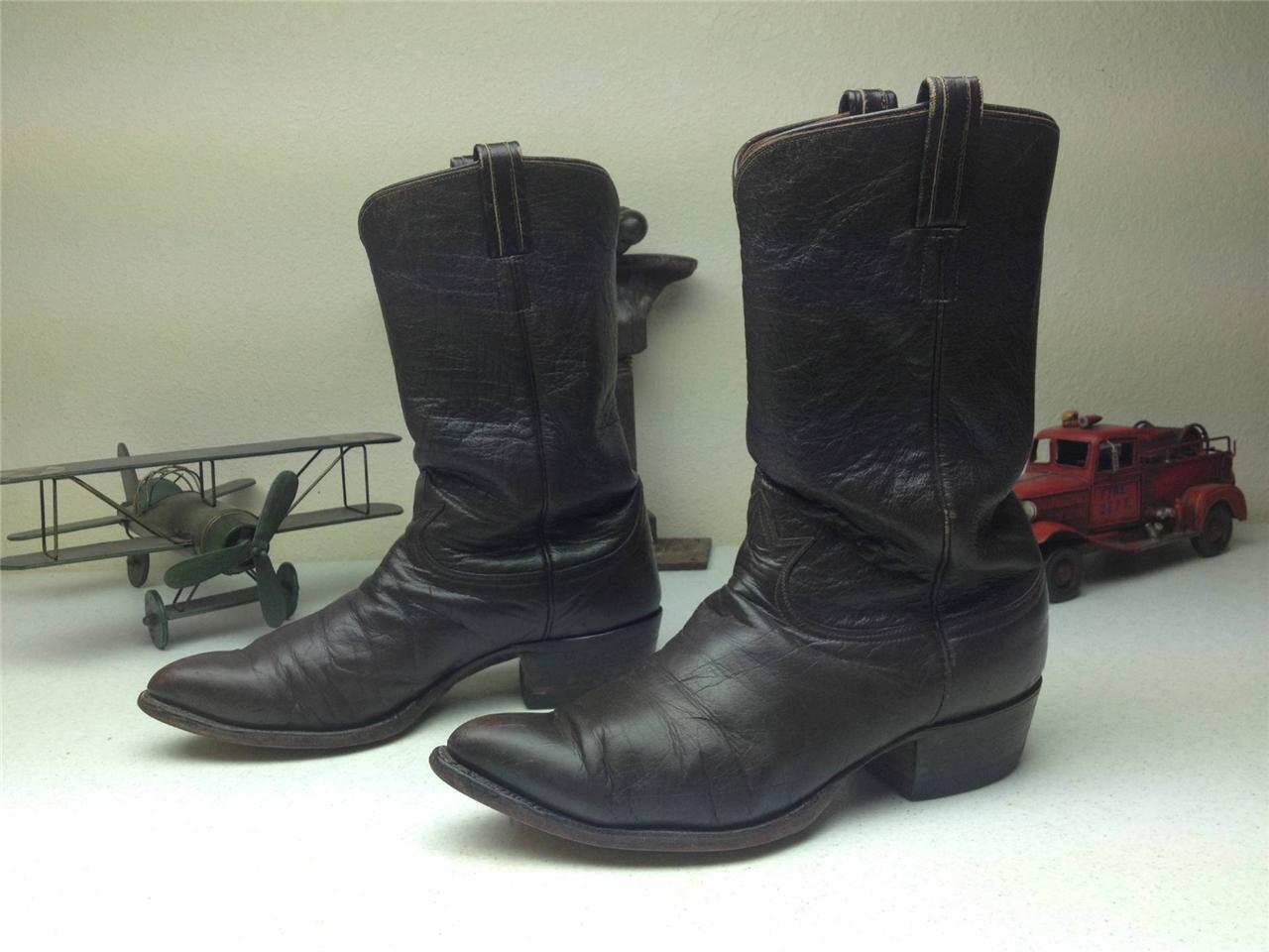 Marrón hecho en el paso Tony Lama envejecido Western Cowboy botas
