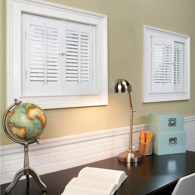 Interior Window Shutters 23 X 36 In White Faux Wood Indoor Vinyl Treatment Pair
