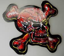roter Totenkopf Glitzer Aufkleber 1970er Jahre UHW Sticker 10cm x 9cm