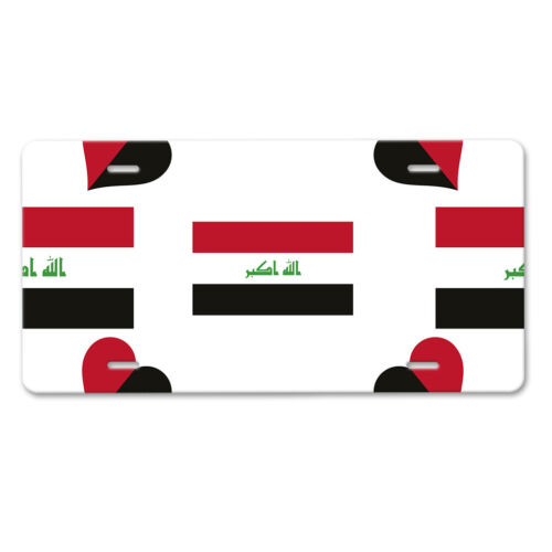 Iraq Country Flag Heart Car Aluminum License Plate