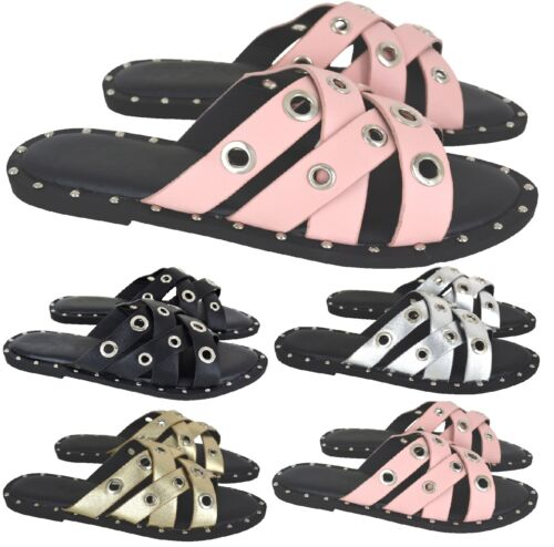 LADIES WOMENS SUMMER STUDDED SLIP ON MULE SLIDER BEACH HOILDAY SANDALS SHOES SZ