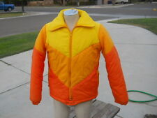 Vintage Bright Colored Nylon Snow Board Sking Jacket  Men's Sz S Orange Yellow