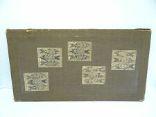 Antique Old Chinese China Asian Fish Print Textile on Burlap Frame Wall Art