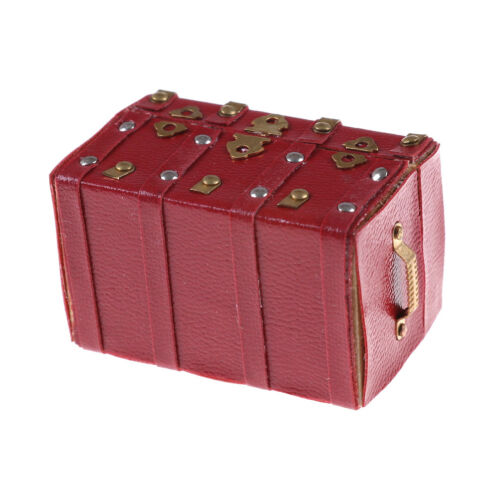 Treasure Chest Vintage Leather Case Box Wooden Miniature Doll House Accessory FF