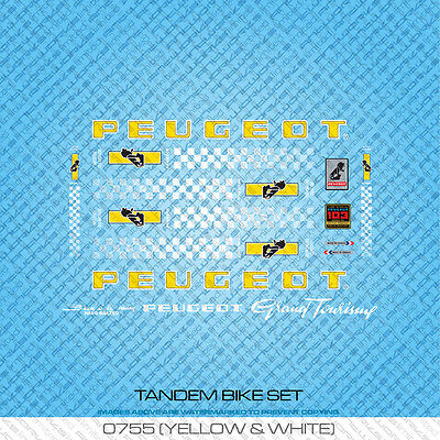 Yellow /& White Peugeot Tandem Bicycle Decals Set 755 Transfers Stickers
