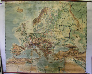 Details zu Schulwandkarte Europa ~1919 182x160 vintage physical europe  school map after WW1