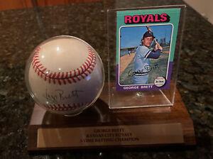 1975 Topps Mini George Brett Kansas City Royals #228 Card And Autograph Base