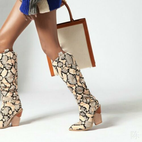 Details about  /Cowboy Women/'s Pointy Toe Snakeksin Print Block Heel Knee High Knight Boots Punk