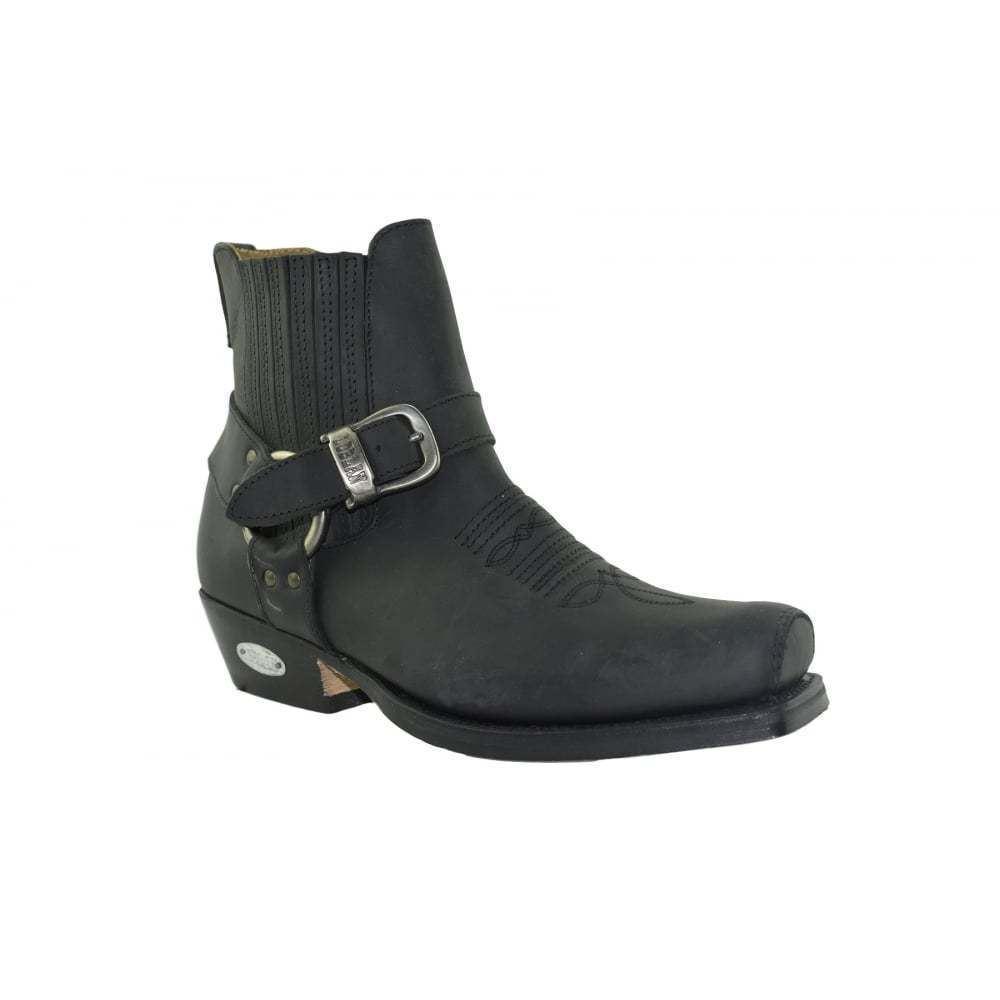 Leather Western Negro Cowboy botas Biker Western Leather Square Toe Ankle botas 6f28dd