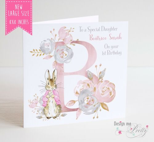 Daughter Granddaughter Girl PERSONALISED PETER RABBIT Birthday Card 8x8 inches