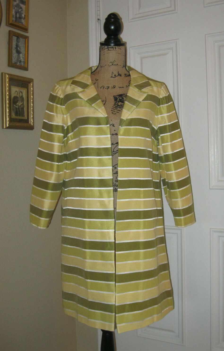 Gorgeous Chartreuse Striped OPEN DUSTER  SZ M 10 or 12