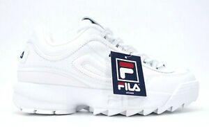 Detalles de Fila Disruptor II Hombre Premium Blanco Moda Zapatillas Talla Ee. Uu. 10 Eu 43