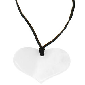 83128b9a4231 Image is loading Semi-precious-agate-white-stone-heart-pendant-lagenlook-