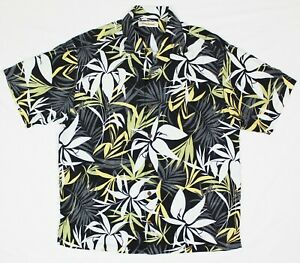 Tommy-Bahama-Shirt-Men-039-s-XL-Hawaiian-100-Silk-Palm-Tree-Leaves-Design-Button-Up
