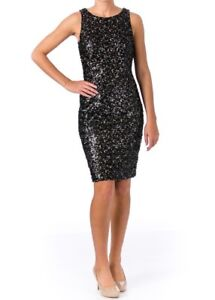 61cf84fb76d SUE WONG Sleeveless Black Gold Sequin Cocktail Party Dress Women 2 ...