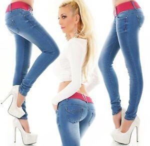 Senora-cadera-Jeans-Hose-vaqueros-pitillo-Skinny-slim-fit-Stretch-Pink-cinturon-xs-xl