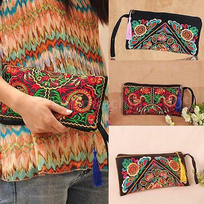 Womens Purse Wallet Ethnic Embroider Card Holder Clutch Phone Bag Stunning 85LX