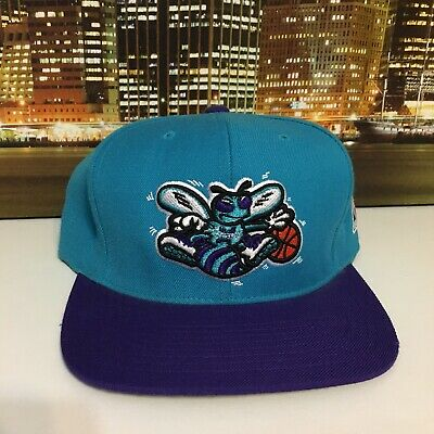 a0265a8625d07 Details about Mitchell & Ness Vintage Nba Basketball Charlotte Hornets  Snapback Hat