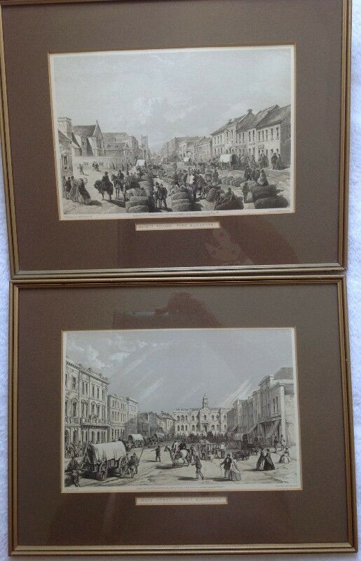 Two Framed Lithographs by Thomas Bowler - Port Elizabeth - Market Square & Main Street 1864