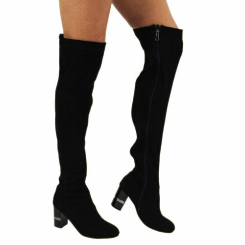 New Women/'s Girls Over The Knee High Ladies Long Faux Suede Diamante Boots Sizes