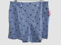 Coral Bay Woman 2x Shorts Blue White Butterfly Elastic Drawstring Pockets