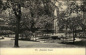 London-England-Postkarte-AK-1910-Fountain-Court-Middle-Temple-Brunnen-Fontaene