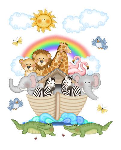 Noahs Ark Wall Mural Decals Bible Story Baby Nursery Safari Animals Art Stickers Decor