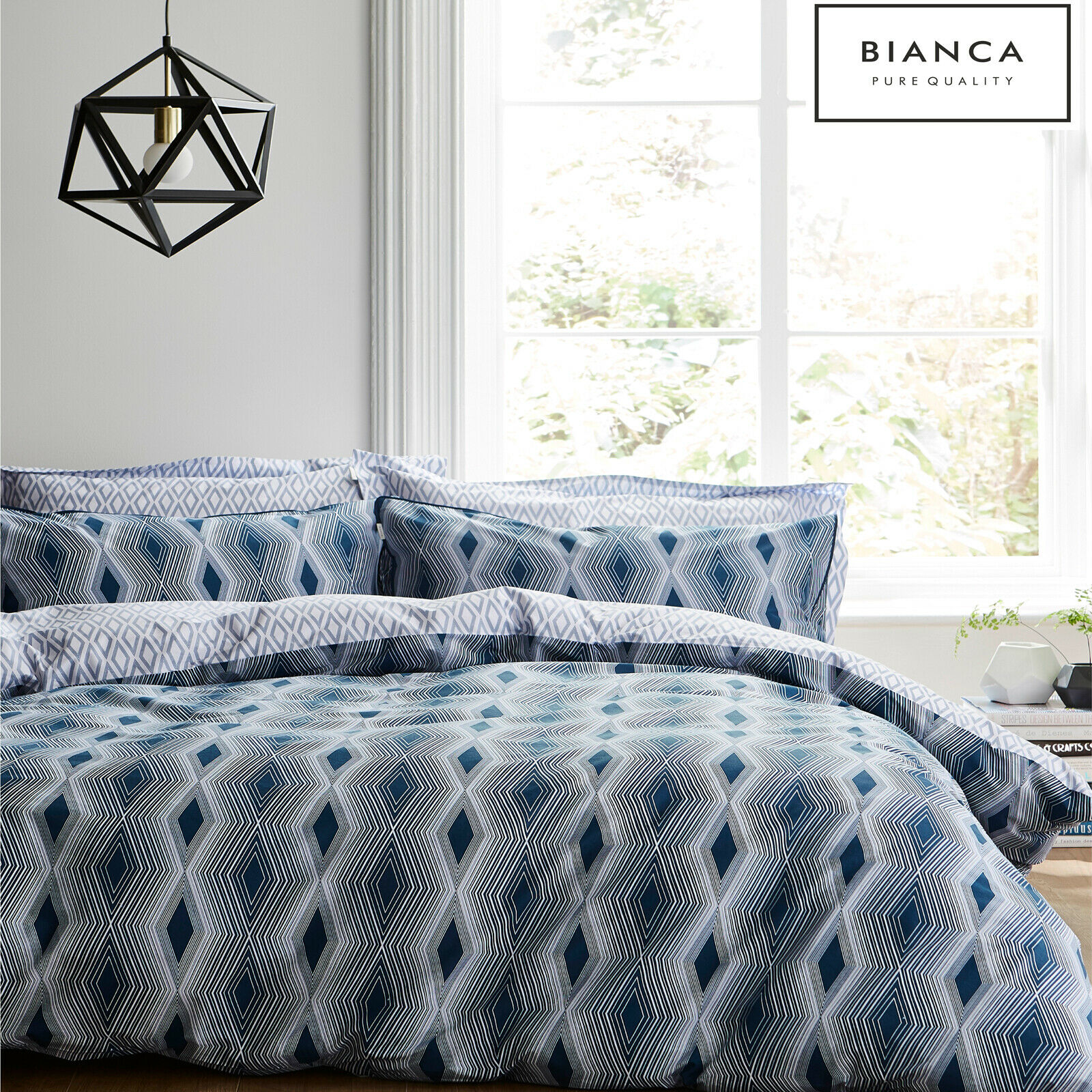 Weiß ZIGGURAT Linear Diamond Geometric 100% Cotton Soft Duvet Cover Set Blau