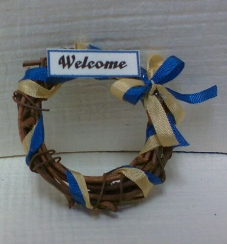 "Dollhouse Miniature Vine Wreath /""Welcome/"" /& Welcome Aboard welcome door mat."