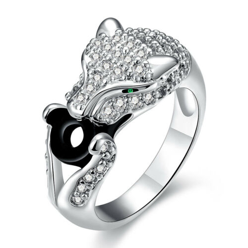 Platinum Plated Ring women/'s Animal Green Eye Black Panther AAA Zircon B531
