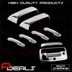 A-PADS for Chevy Silverado GMC Sierra 2014 15 16 17 2018 Chrome Covers Top Mirror+4 Door Handle Without Passenger Keyhole Tailgate Cover with Camera Hole
