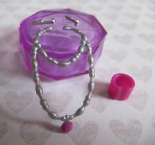 Fashion Doll Jewelry Bratz Moxie Liv Silver Pink Earrings Necklace Bracelet Set