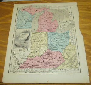 1849 Olney\'s Antique COLOR Map/USA States of MI, OH, IN, KY, WI ...