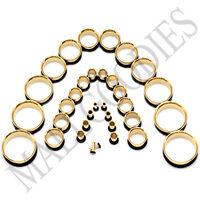 "V043 Gold Single Flare Flesh Tunnels Earlets Ear Plugs Big Gauges 10G ~ 2"" PAIR"