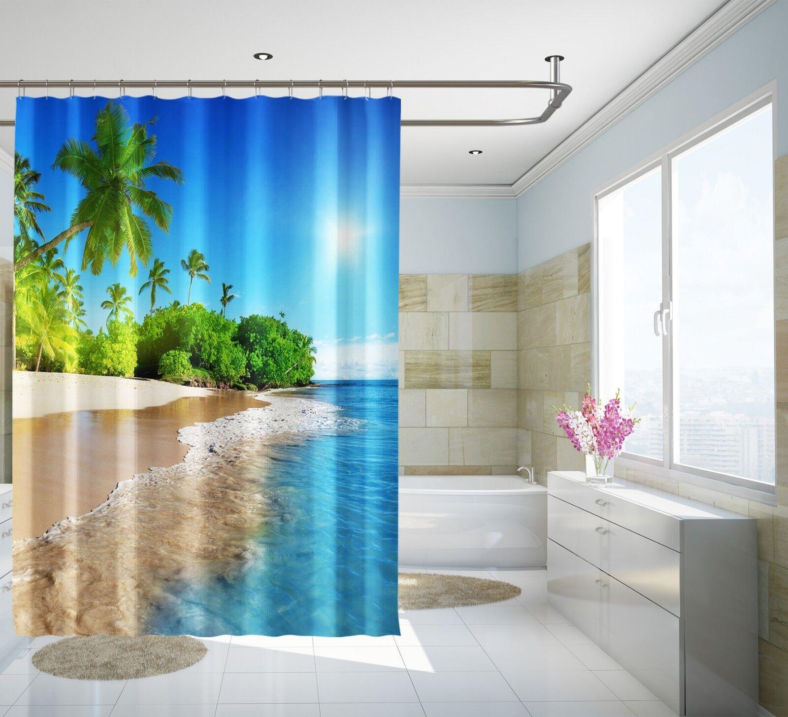 3D Baum Strand 7 Duschvorhang Duschvorhang Duschvorhang Wasserdicht Faser Bad Daheim Windows Toilette DE   Schönes Aussehen  9386c6