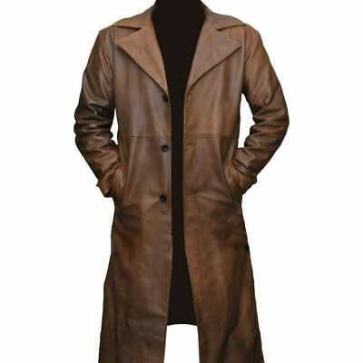 Brown Trench Coat Original Lambskin Leather Below Knee Long Coat Distressed Leather Vintage Style