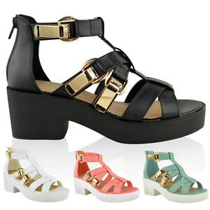 NEW-WOMENS-LADIES-GLADIATOR-CUT-OUT-SANDALS-CHUNKY-BLOCK-HIGH-HEEL-STRAPPY-SHOES