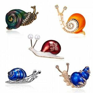 Fashion-Snail-Animals-Crystal-Rhinestone-Pearl-Enamel-Brooch-Pin-Women-Jewelry