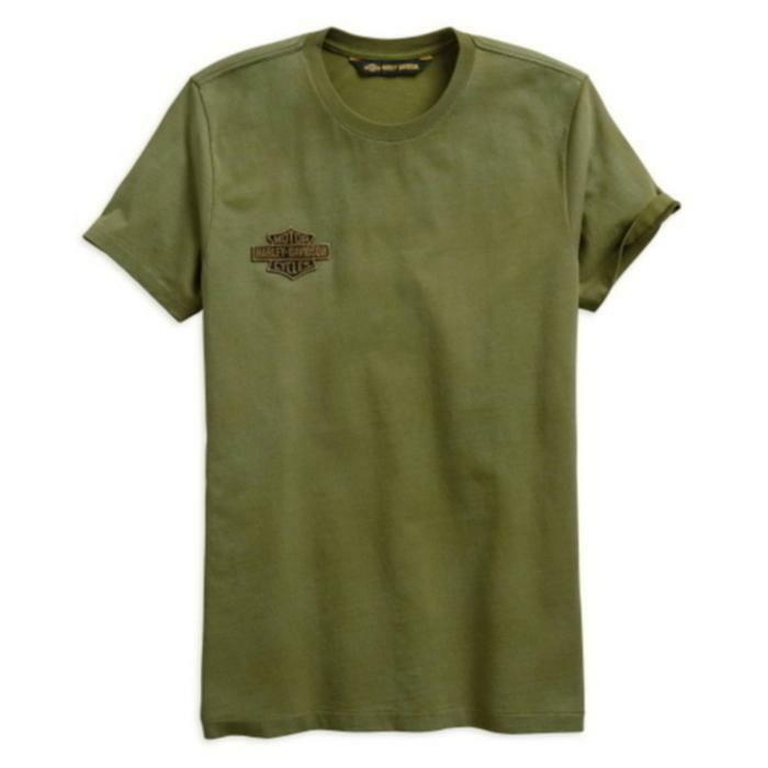 HARLEY-DAVIDSON MEN'S, TOP, WINGED LOGO, GREEN T-SHIRT, SLIM FIT, IDEAL GIFT