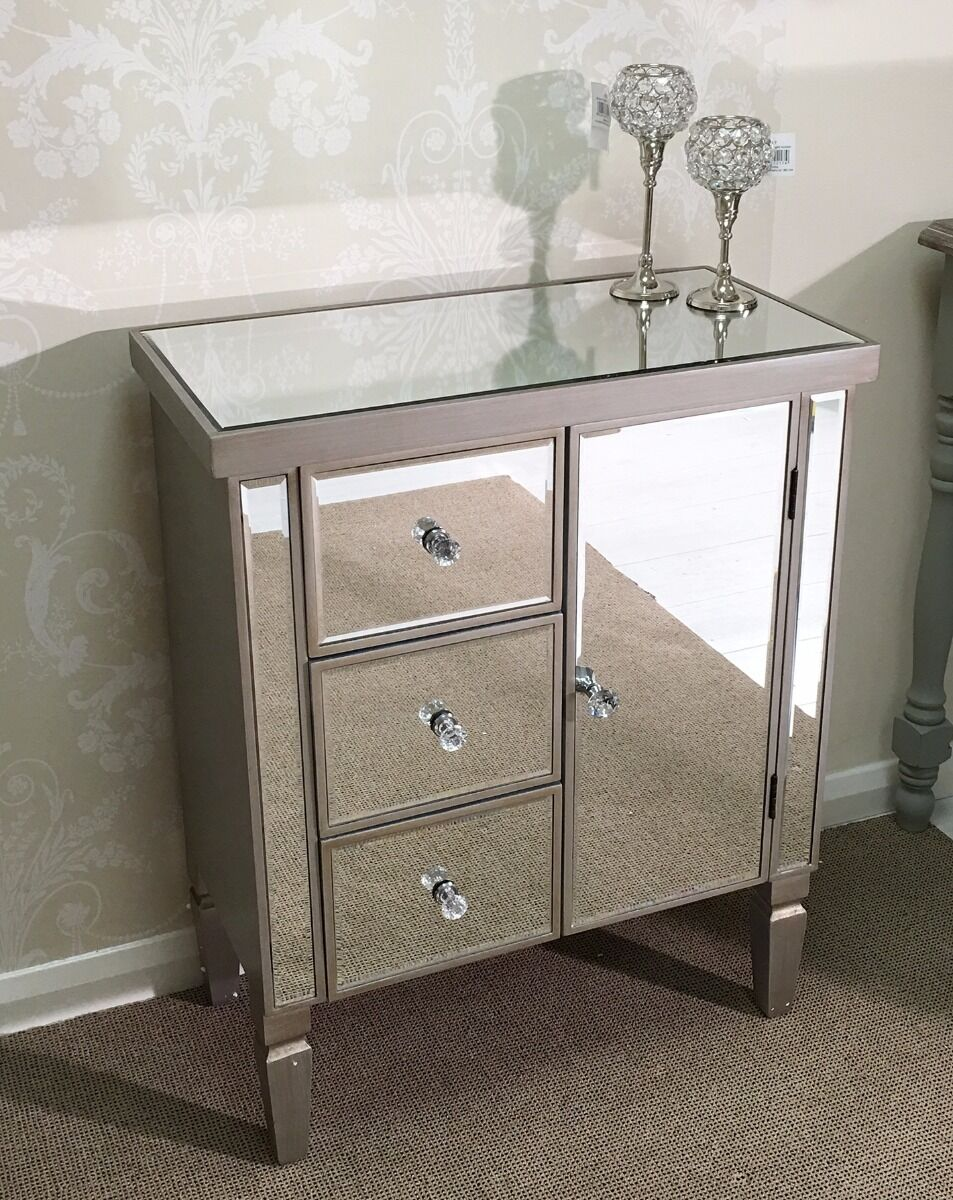 Venetian mirrored glass silver gold modern drawer