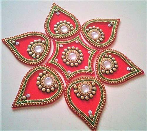-Set of 7 Pieces 10 inch Diameter, RED PRAHLL Acrylic Rangoli Flower Shape