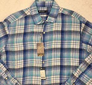 Men/'s Linen Button Up Shirt Size Large Blue White Plaid Top Cremieux Classics
