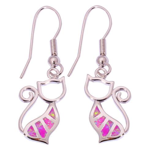 Violet opale de feu Cat Silver for Women Jewelry Gemstone Dangle Earrings OH3974