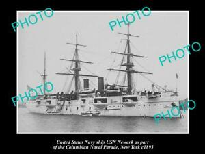 OLD-POSTCARD-SIZE-PHOTO-OF-US-NAVY-WARSHIP-THE-USN-NEWARK-c1893-NEW-YORK