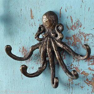 Octopus Key Jewelry Towel Hook Wall Hanger Nautical Coastal Ocean Sea Llife Iron