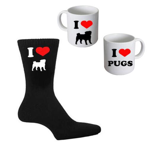 I Love Pug Uomo Nero Calze E TAZZA bianco perfetto regalo da uomo